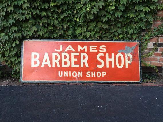 Antique Trade Sign James Barber Shop Sign Union Shop Sign Hand Painted Folk Art Sign Fabulous 1940s Era Barb Antique Trade Sign Trade Sign Barber Shop Sign