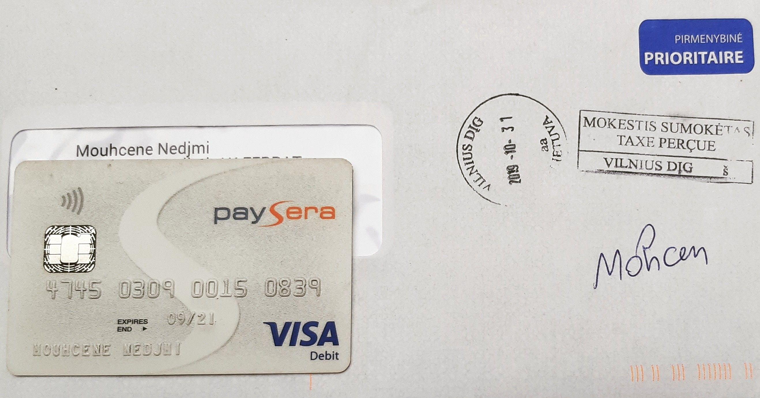 Visa Card Paysera فيزا كارد بايسيرا Visa Card Visa Debit