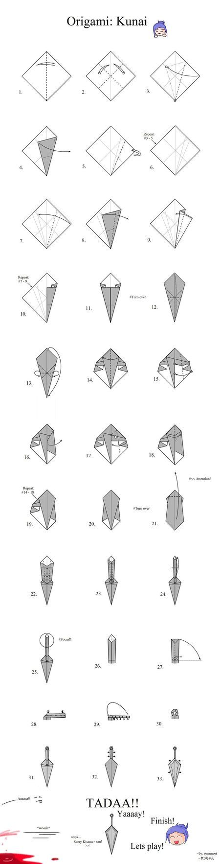 Origami Kunai from Deviant art... Could be used for a Konan cosplay (Naruto Shippuden)