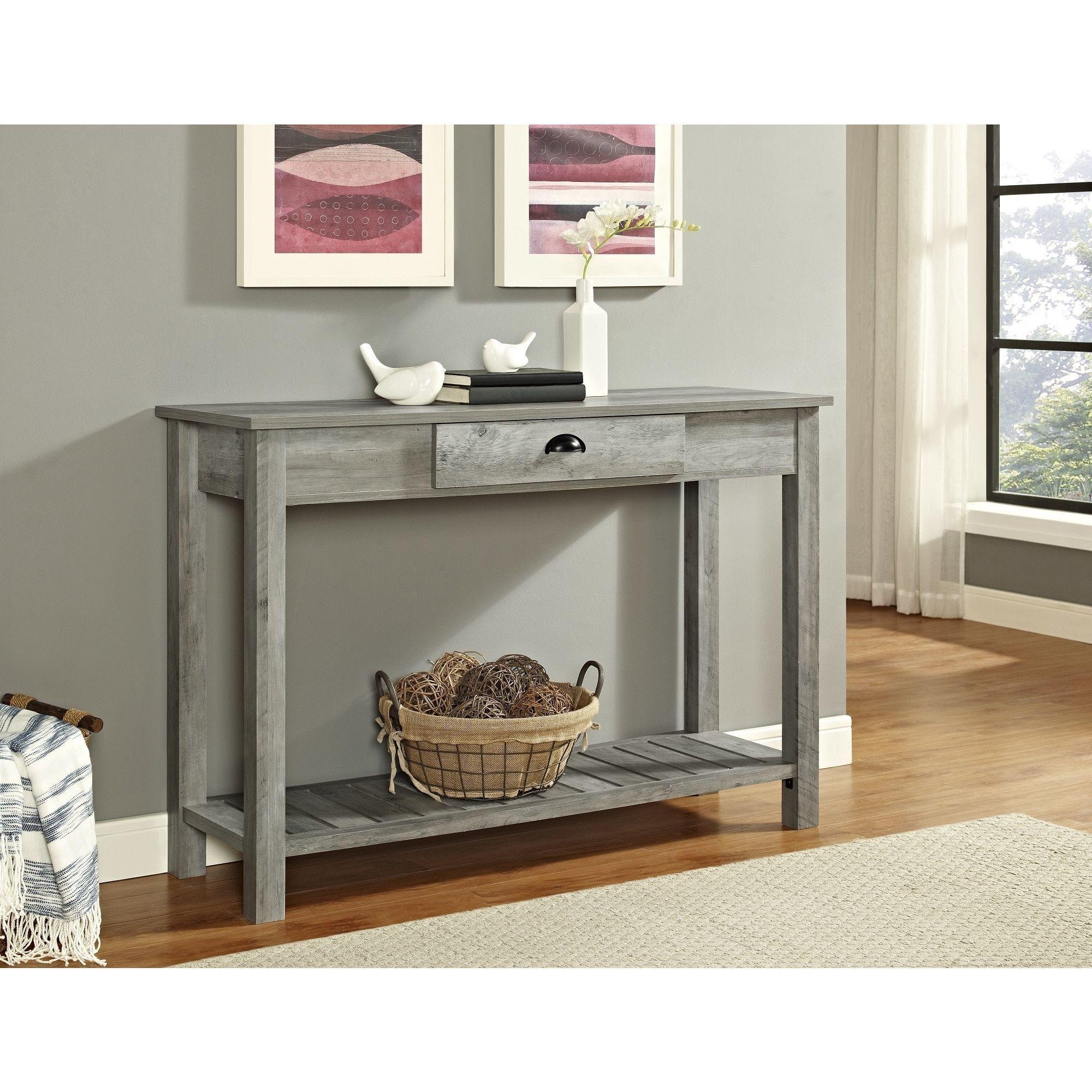 Superb 48 Entry Console Table 48 X 16 X 32H Grey Wash Gray Ibusinesslaw Wood Chair Design Ideas Ibusinesslaworg