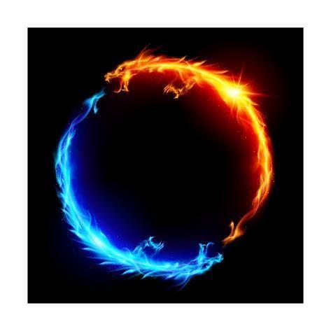 Art Print Blue And Red Fire Dragons By Dvarg 12x12in Gambar Ilusi Optik Seni Film Gambar Naga