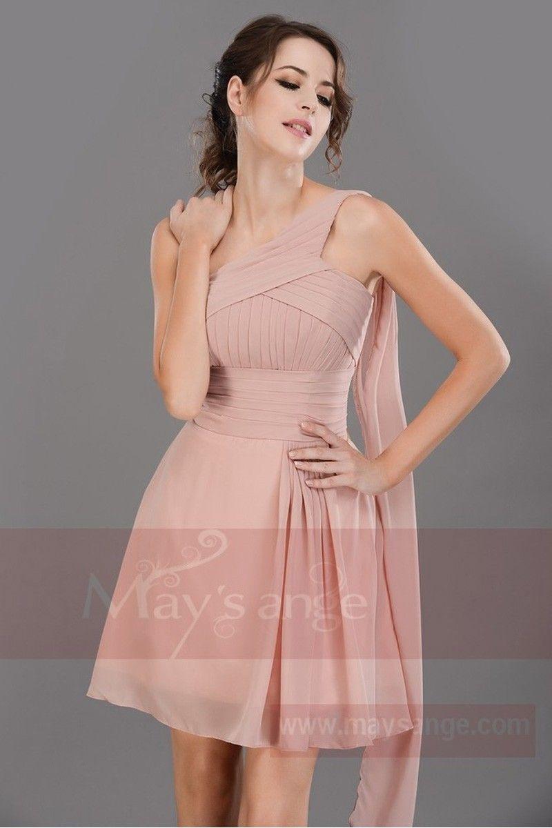 Robe asymetrique rose pale