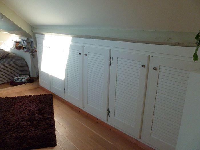 Placard sous pente toit combles salles de bain placard salle de bain salle de bains sous - Amenagement placard salle de bain ...