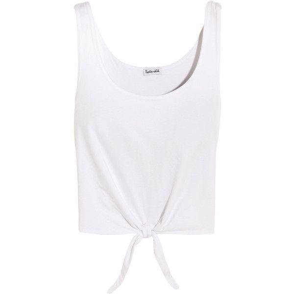 8b125e69b4172 Splendid Tie-front cotton-jersey top