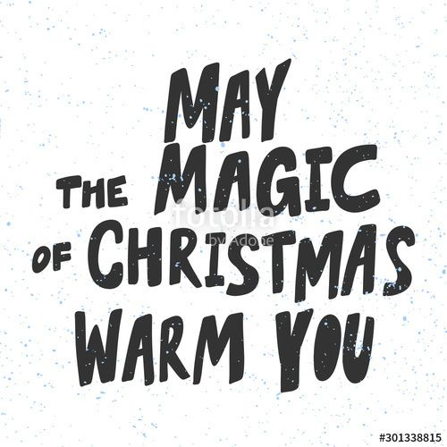 May the Magic of Christmas warm you. Christmas and happy New Year vector hand drawn illustration banner with cartoon comic lettering. , #SPONSORED, #happy, #Year, #vector, #Magic, #Christmas #Ad