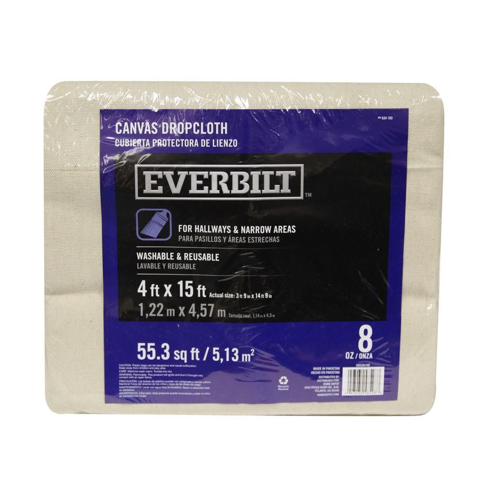 Everbilt 4 Ft X 15 Ft 8 Oz Heavyweight Canvas Drop Cloth Runner