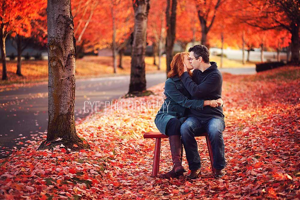 Couple, Fall colors, kiss