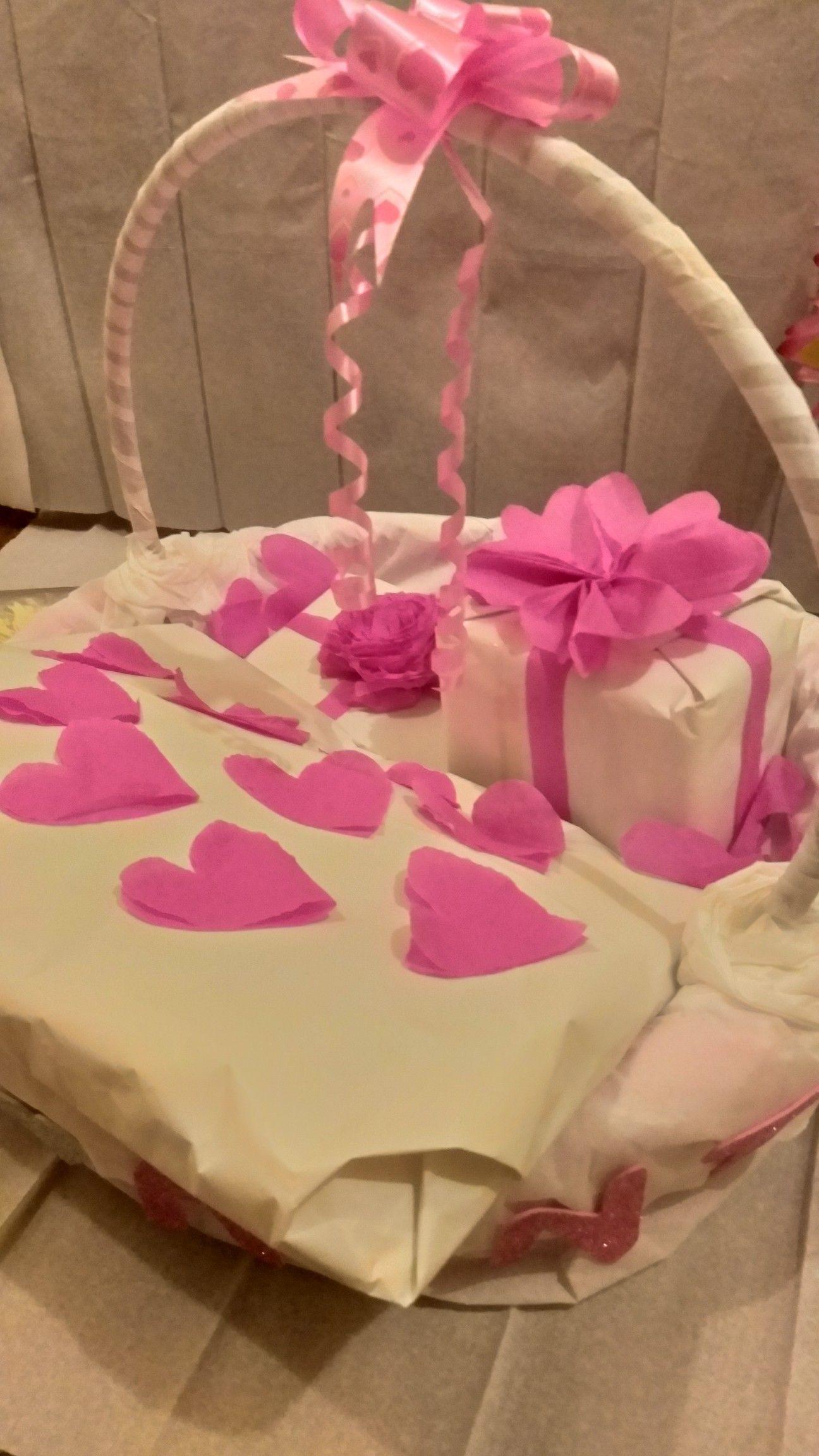 Gift wrappingbasketdiywhitepink birthday wrapping