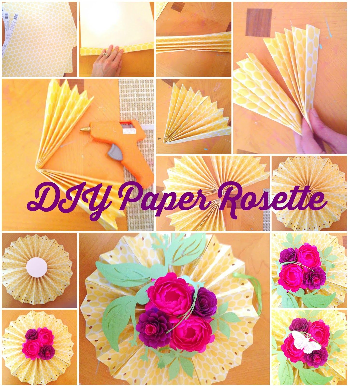 Decorative Hanging Paper Rosette Fans With Paper Flowers By Mamas