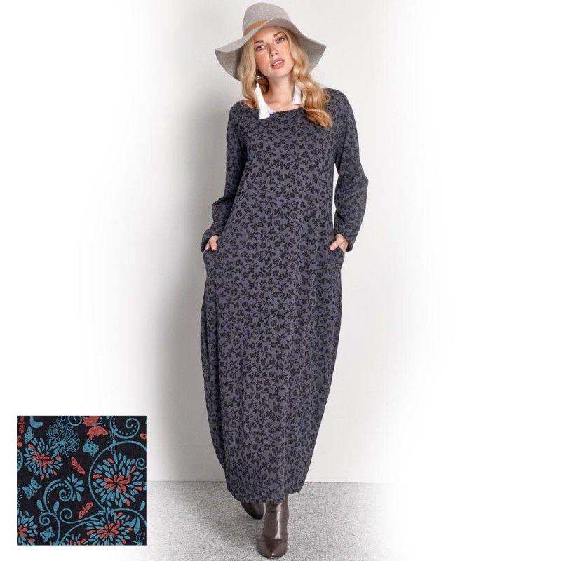 8aec55aed411 Platinum Γκρι Μaxi Φόρεμα    Μάυρο Floral   - fm733-w