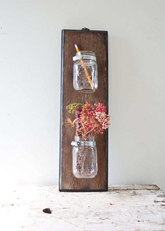 Mason Jar Wall Mounted Wooden Garden Holder by whiskyginger
