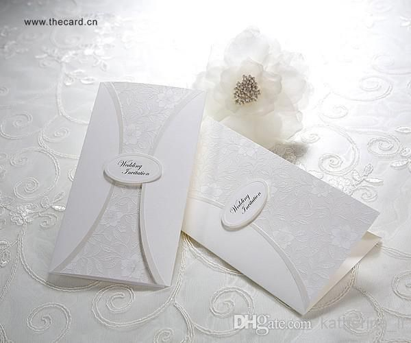 Royal Pure Embossed Flower Design Folded Wedding Invitations Cards In ...