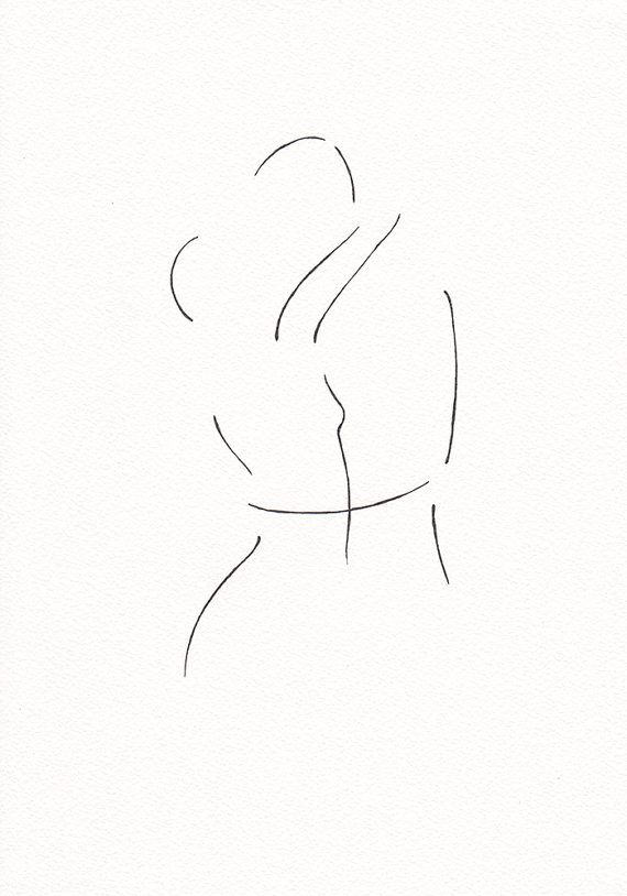 Original ink drawing of kissing figures. The artwork is on A4 size (21x29.7 cm / 8.3 x 11.7) watercolor paper (slightly cream toned), and hand drawn with