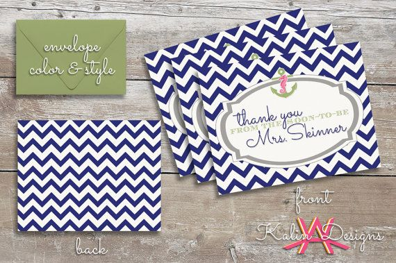 Custom Bridal Shower Thank You Cards with Matching Envelopes | Navy | Nautical/Beach Design on Etsy, $1.50