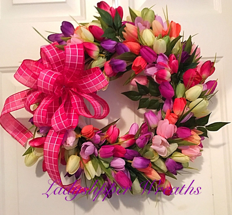 Tulip Wreath-Spring Wreath--Easter Wreath--Mothers Day Wreath--Spring Door Wreath--Spring Decor-Pastel Colored Wreath-Pink Wreath by LadySlipperWreaths on Etsy