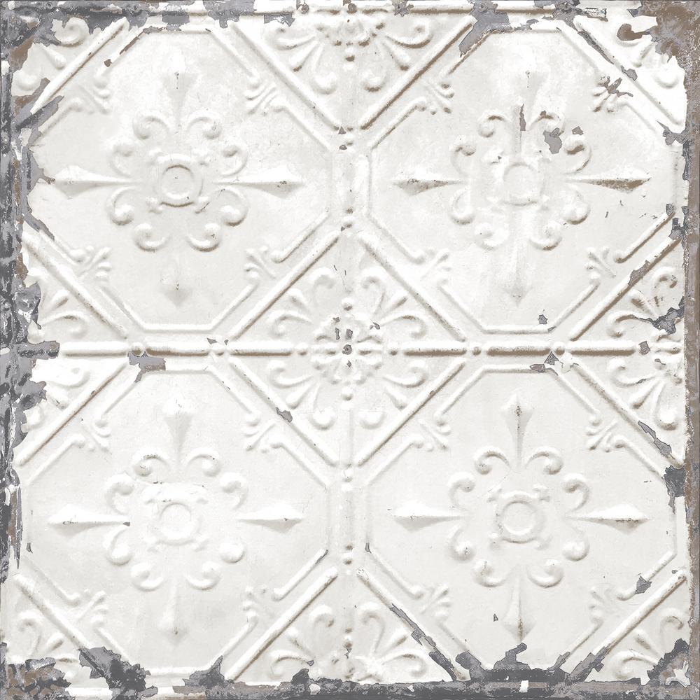 Nuwallpaper Vintage Tin Tile Peel And Stick White Off White Wallpaper Sample Nu2086sam The Home Depot Vintage Tin Tiles Tin Ceiling Antique Tin Ceiling Tile