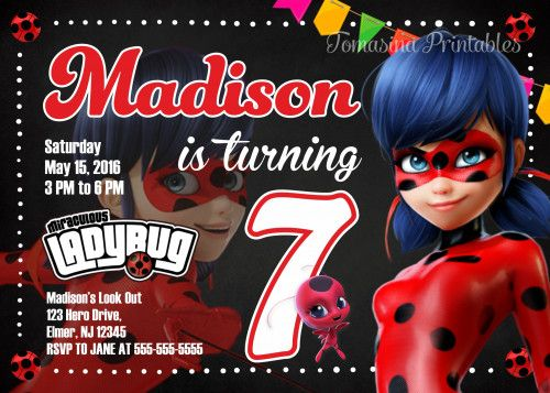 Miraculous Ladybug Invitation Prodigious Ladybug Birthday Party