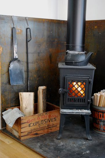 sheet metal behind wood stove google search - Wood Stove Backsplash