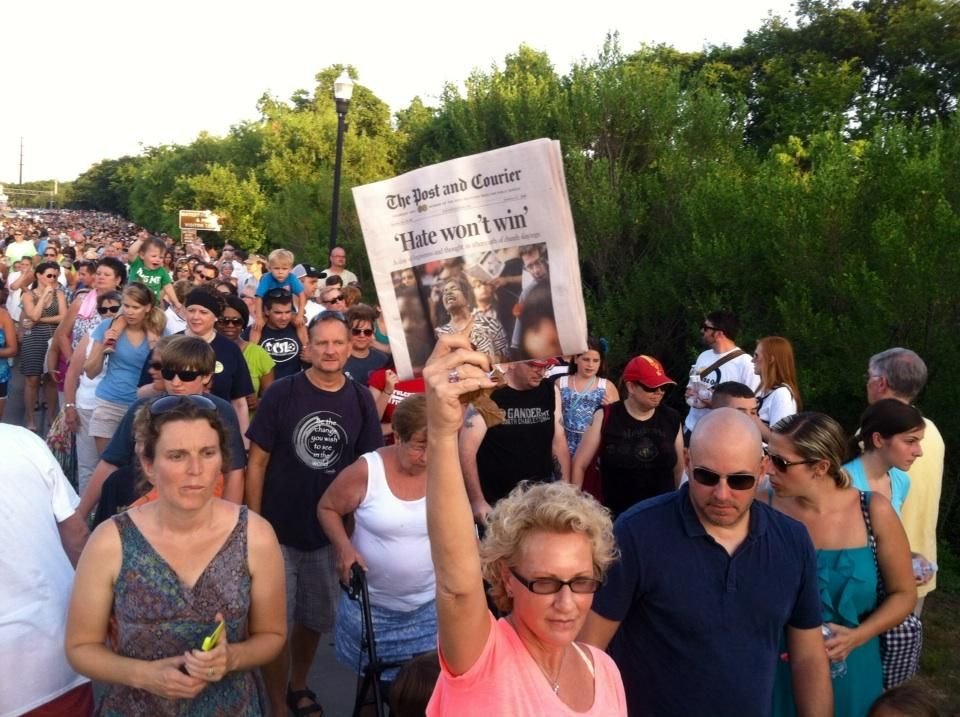 """Hate won't win."" #UnityChainCharleston #BridgeToPeace #CharlestonStrong #CharlestonShooting #IamAME"