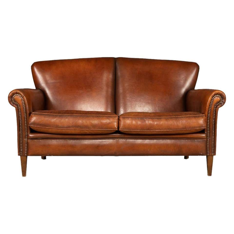 20th Century Dutch Two Seat Leather Sofa Holland In 2020 Leather Sofa Two Seater Leather Sofa Leather Seat