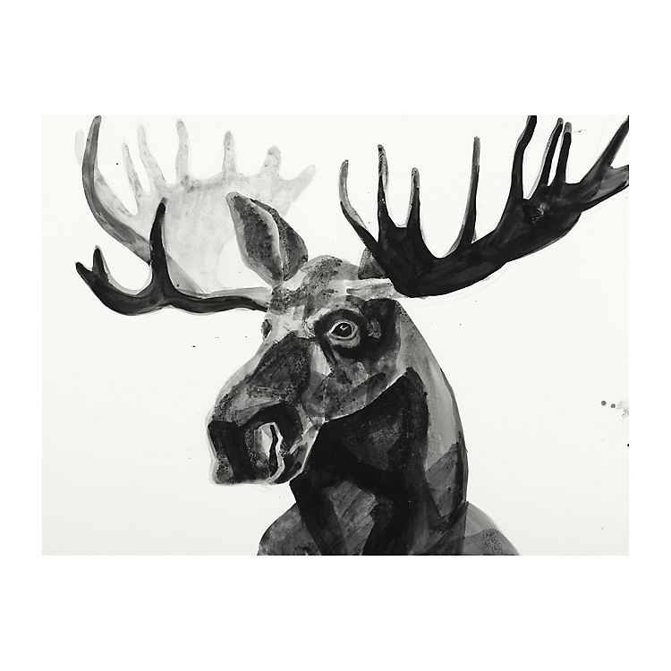 Black and white watercolor moose canvas art print kirklands