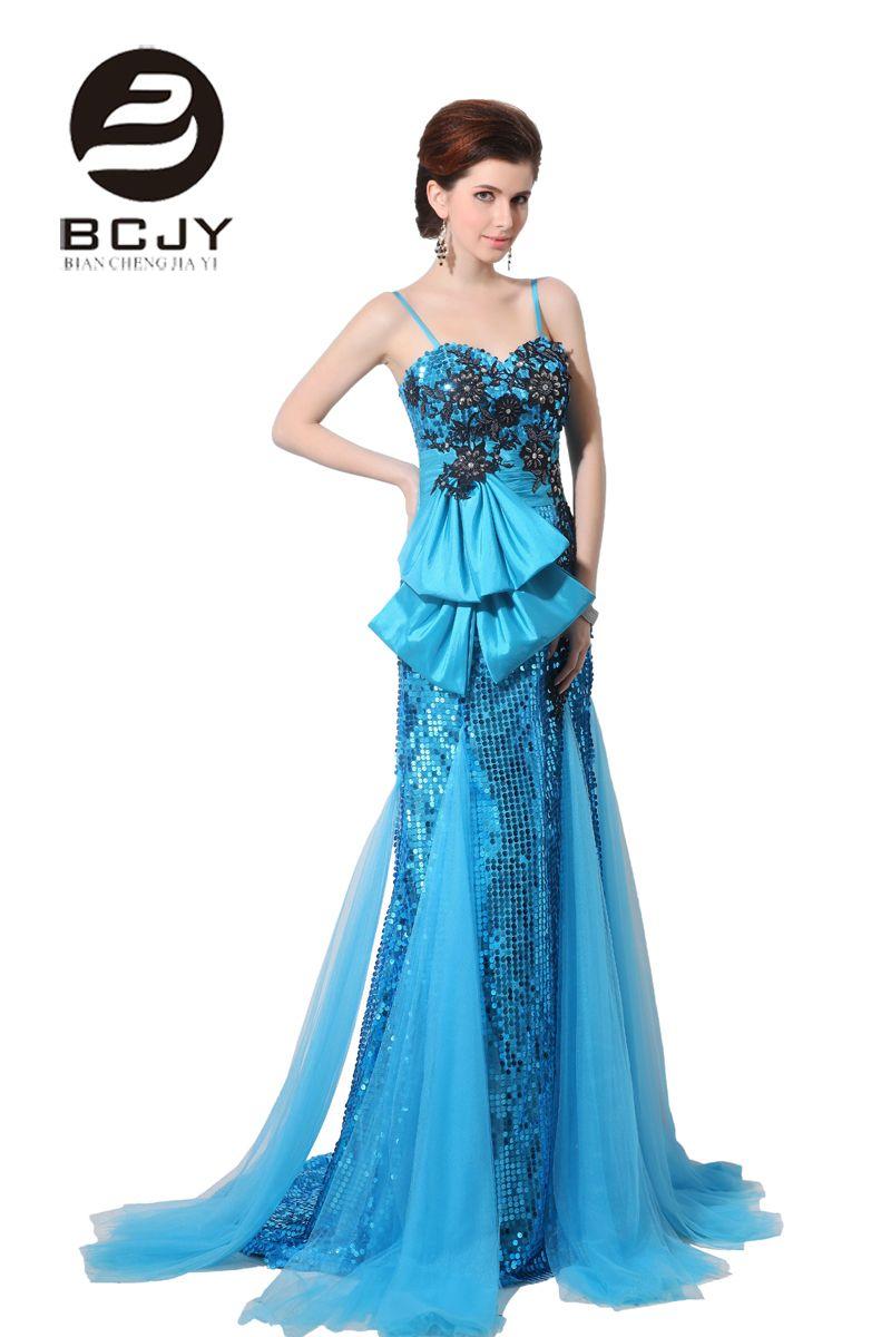 Click to buy ucuc robe de soiree blue sweetheart long bling