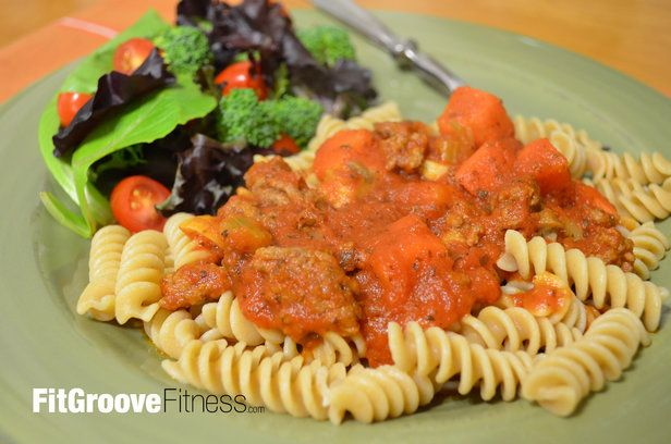 Suzy's Souped-Up Spaghetti Sauce | FitGroove Fitness. What is this spaghetti sauce souped-up with you ask? Why veggies of course! This is truly a great spin on a family favorite that re-heats from fridge and freezer well, and is sure to satisfy even the most discriminating of palates! Serve with whole wheat pasta and a side of greens to maximize the health benefits.