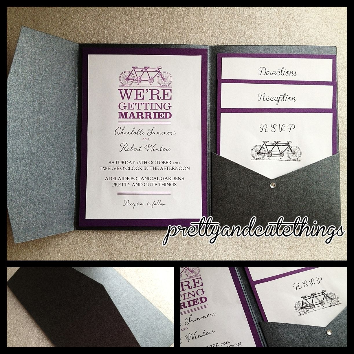 Black metallic shimmer wedding invitations diy pocket envelopes ...