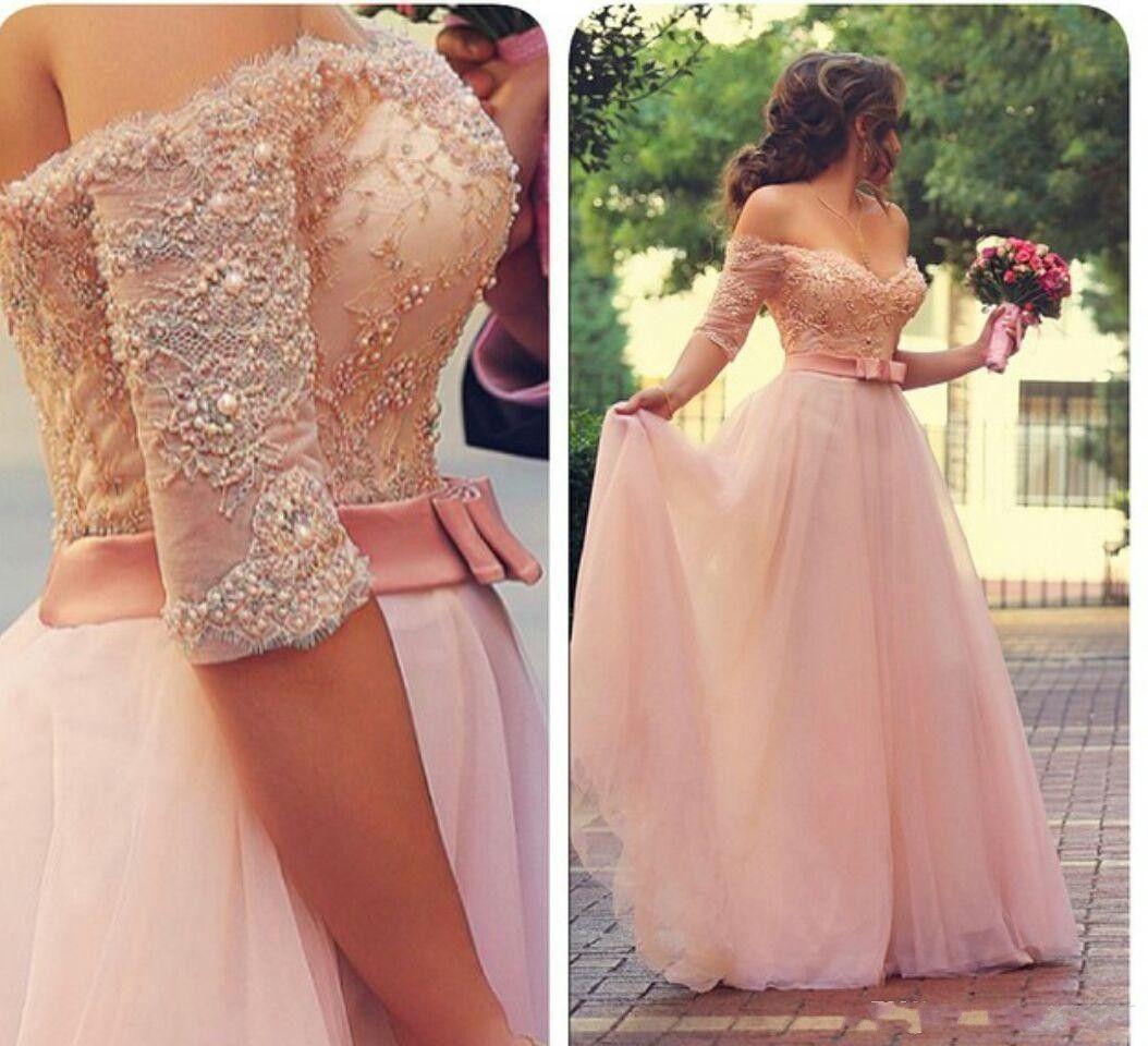 Rosa Brautkleider Lang Mit Ärmel Spitze Perlen Tüll Brautmoden