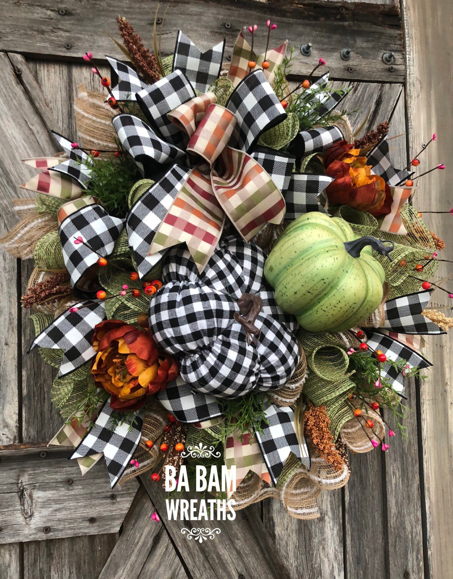 Ba Bam Wreaths, Fall Wreath, Fall Swag, Autumn Swag, Autumn