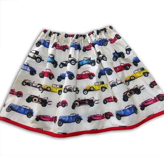Girl's Car Skirt, Classic Car Skirt, Girls Clothing, Gift for Girls, Toddler Clothing, Skirts for Girls
