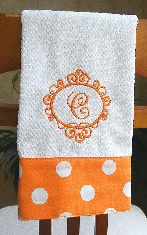Monogrammed Kitchen Towel, Monogrammed Dish Towel, Orange ...