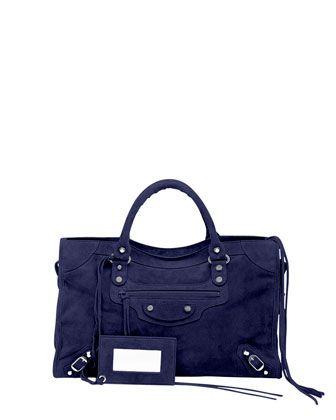 9902c2cd79 Classic+City+Baby+Daim+Suede+Bag,+Navy+Blue+by+Balenciaga+at+Neiman+Marcus.