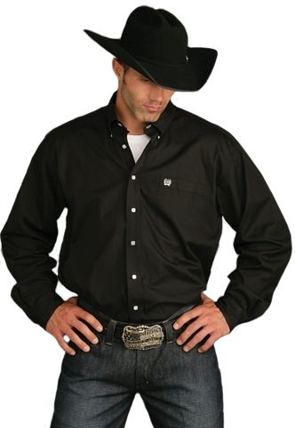 Cinch men 39 s black pinpoint oxford button down longsleeve for Nice mens button up shirts