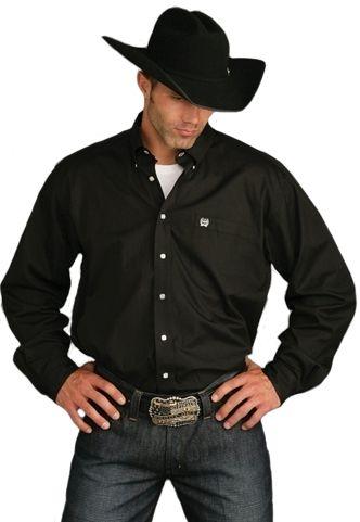 Cinch Men's Black Pinpoint Oxford Button Down Longsleeve Shirt ...