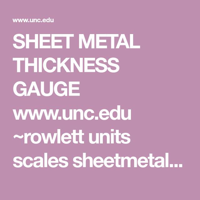 Sheet Metal Thickness Gauge Www Unc Edu Rowlett Units Scales Sheetmetal Html Sheet Metal Thickness Sheet Metal Gauges