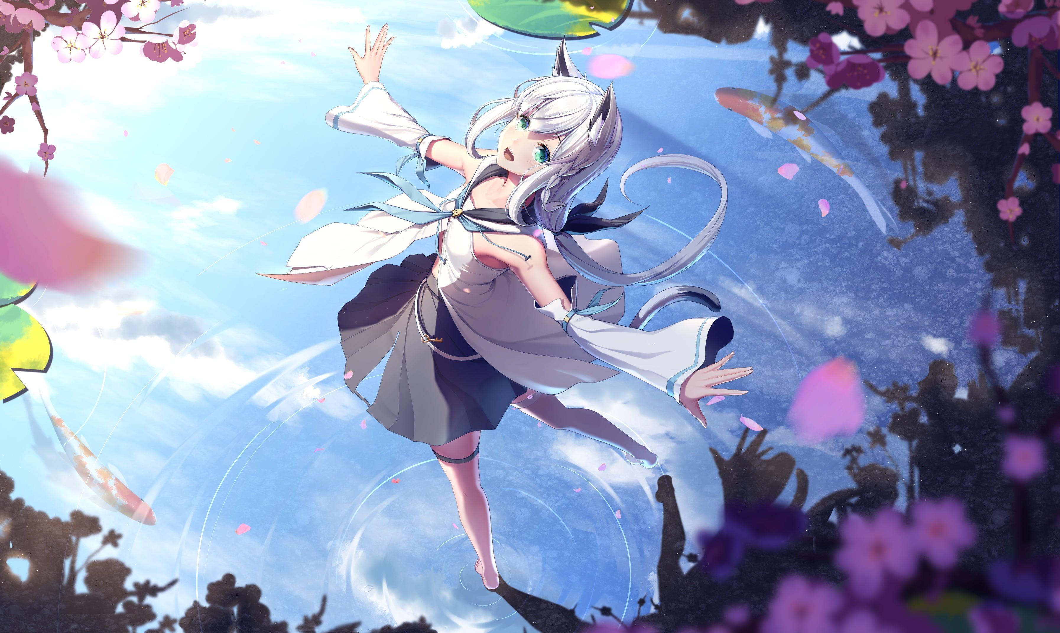 Anime Virtual Youtuber Shirakami Fubuki 2k Wallpaper Hdwallpaper Desktop Anime Hd Anime Wallpapers Anime Wallpaper