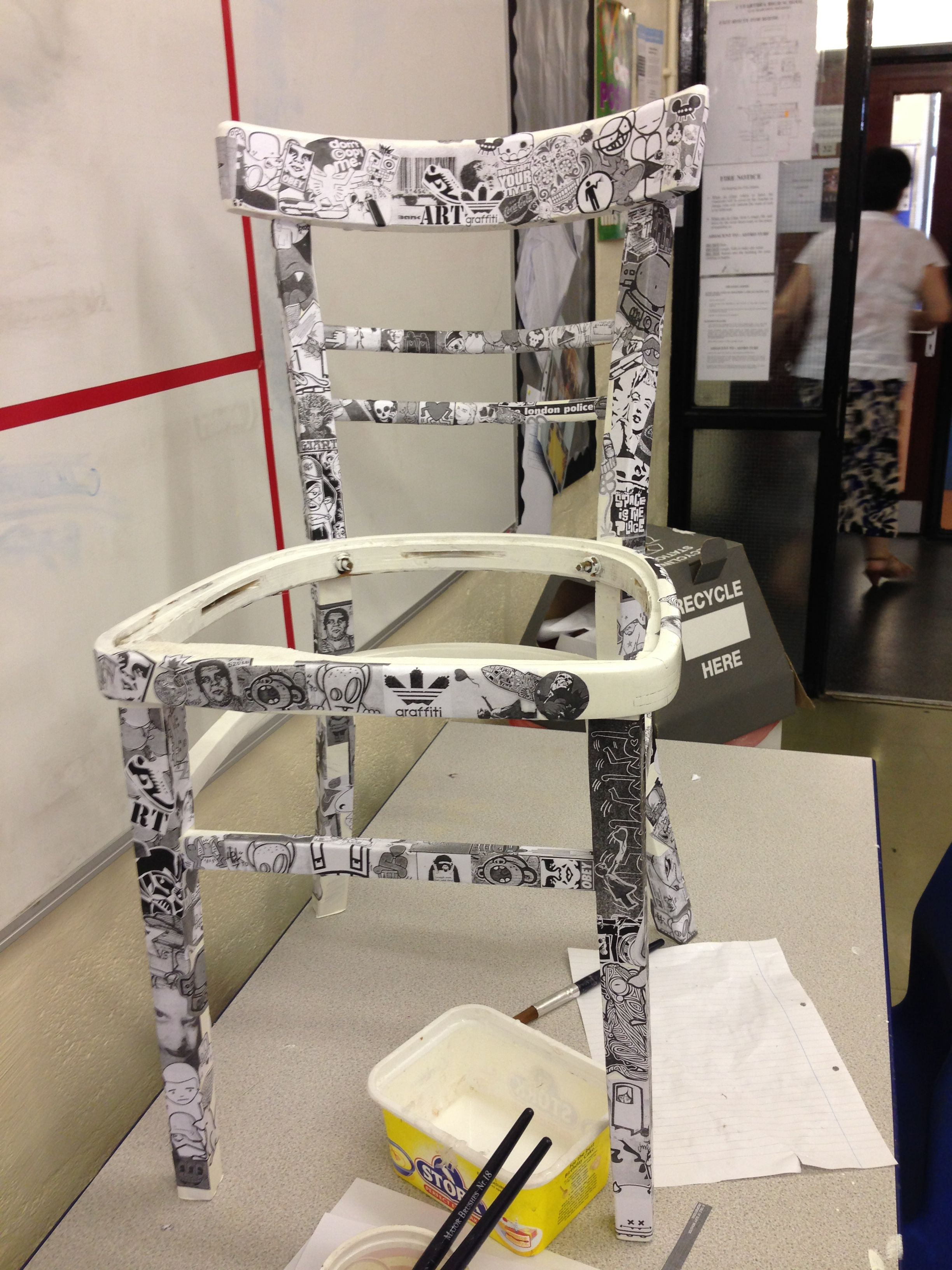 A work in progress black white sticker bomb chair - up-cycling at ...