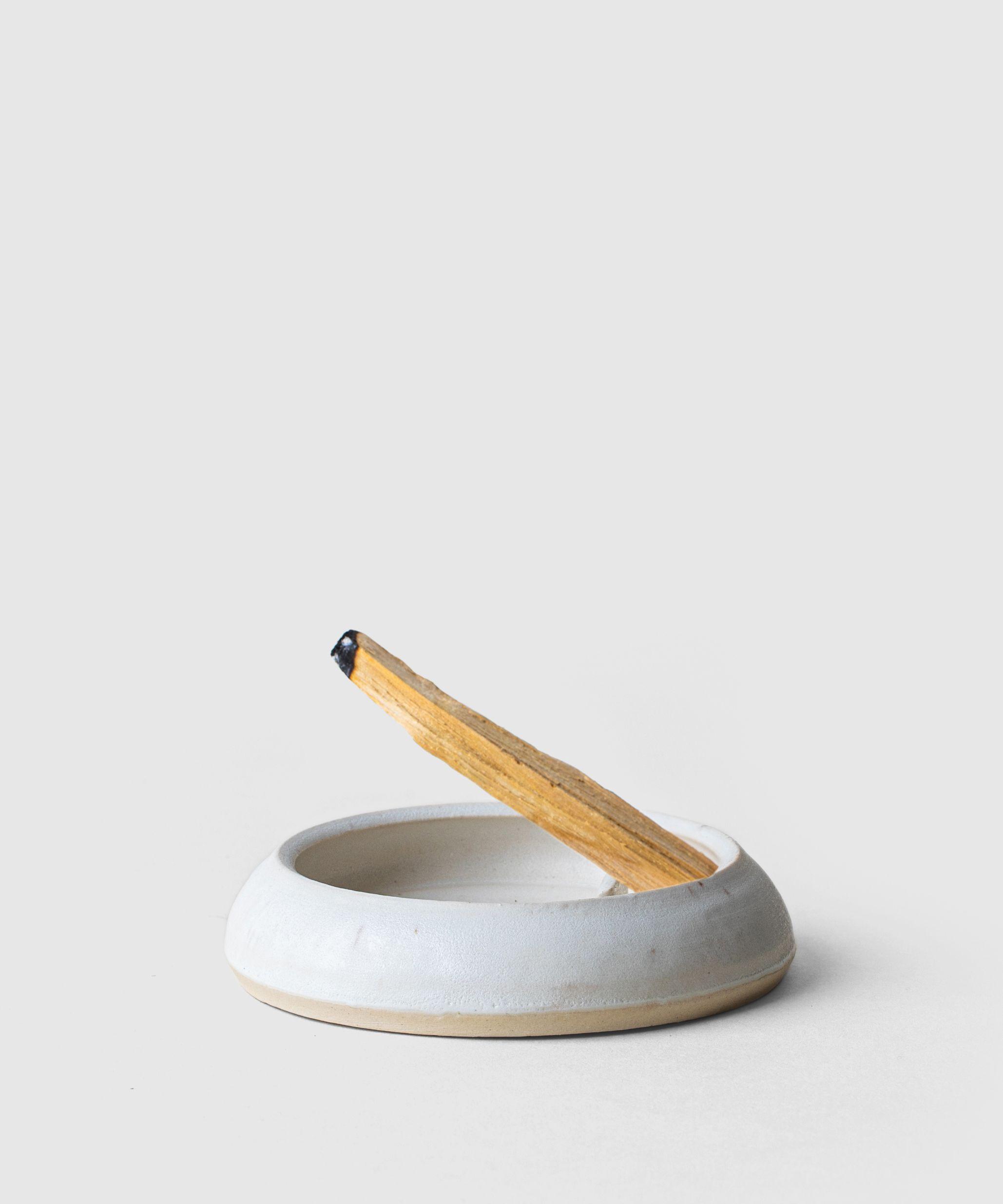Incense burner. Handmade pottery teal compass rose incense holder
