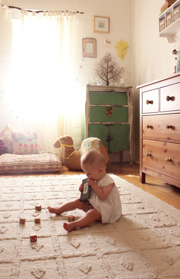 Boho Baby-love the idea of using a branch as a curtain rod!