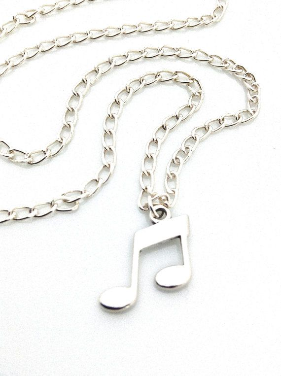 Music Note Necklace Sterling Silver Eighth Notes By