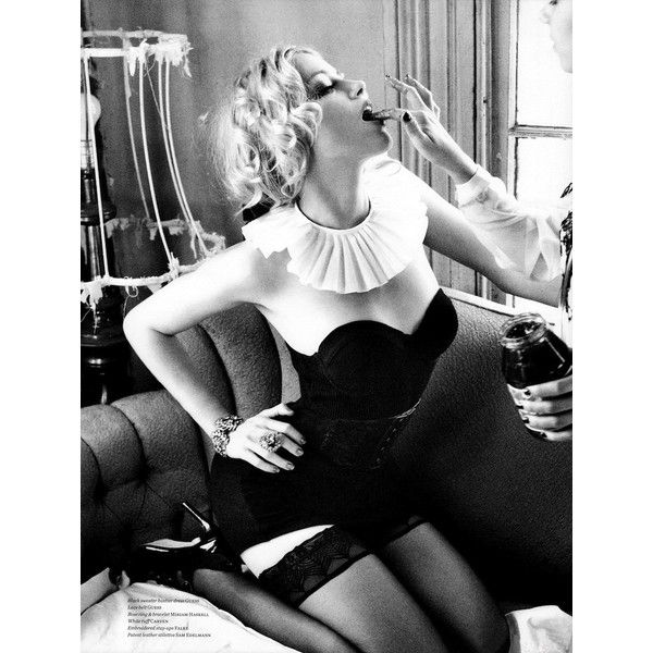 Playboy Club's Amber Heard Girl-on-Girl in VS Mag ❤ liked on Polyvore