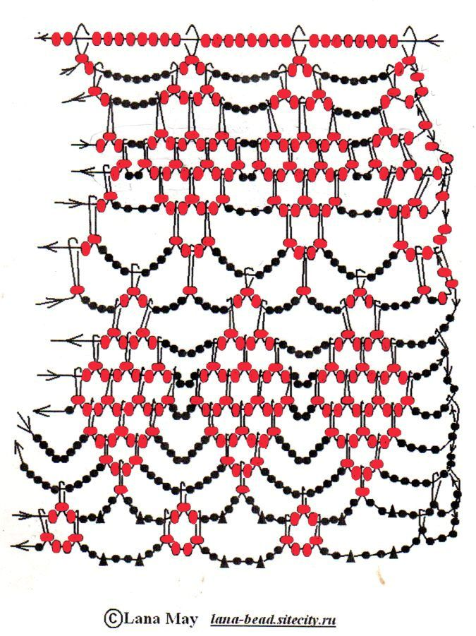 Beading diagram for open weave necklace with diamond