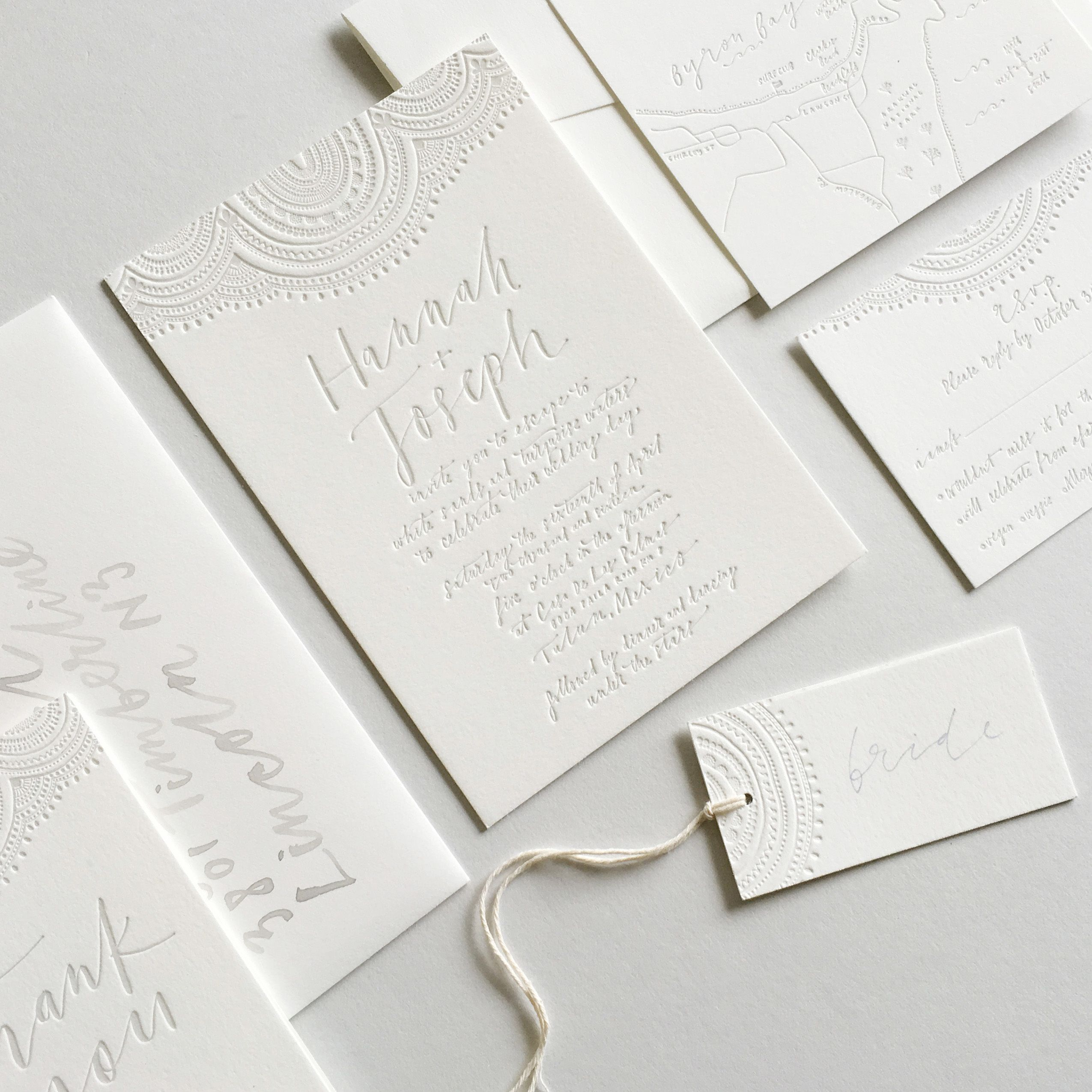 White Embossed Stationery Suite / Wedding Invite Inspiration ...