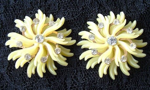 Celluloid Rhinestone Earrings Vintage Jewelry by kiamichi7 on Etsy, $17.00