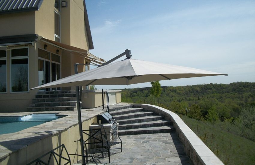 Neutral Beige Awnings Retractable Awning Patio Dining Set Awning