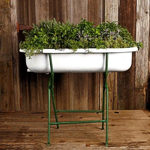 Vintage Porcelain Bathtub Planter W/ Stand #gardening #planters #patio