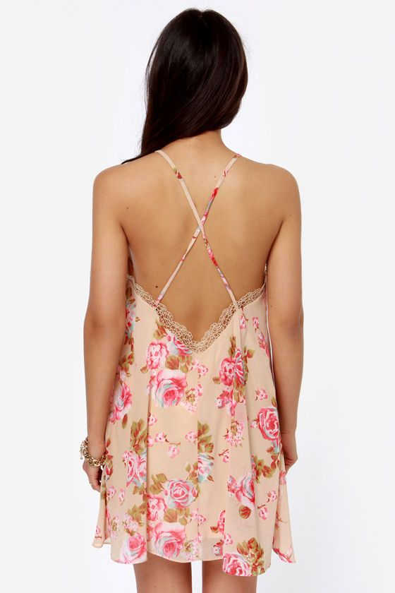 Ladylike You a Lot Beige Floral Print Dress at LuLus.com!