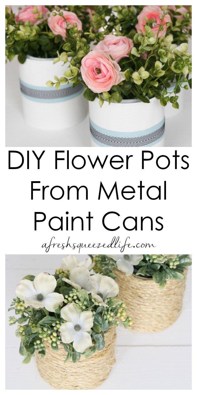 Diy Recycled Metal Flower Pots Flower Pots Diy Recycle Metal
