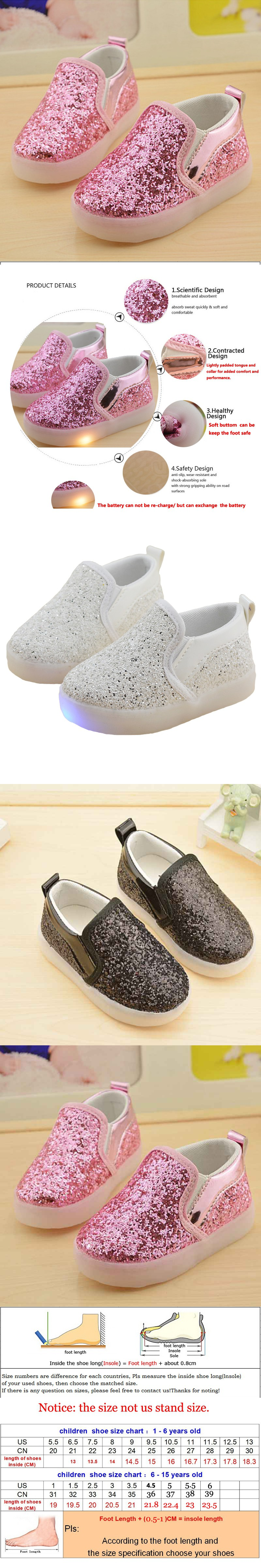 New Boys Girls Led Light Up PU Leather Children Shoes Luminous Glowing Flats Sneaker Sports Casual Running Kids Shoe Size 21-30 $6.99